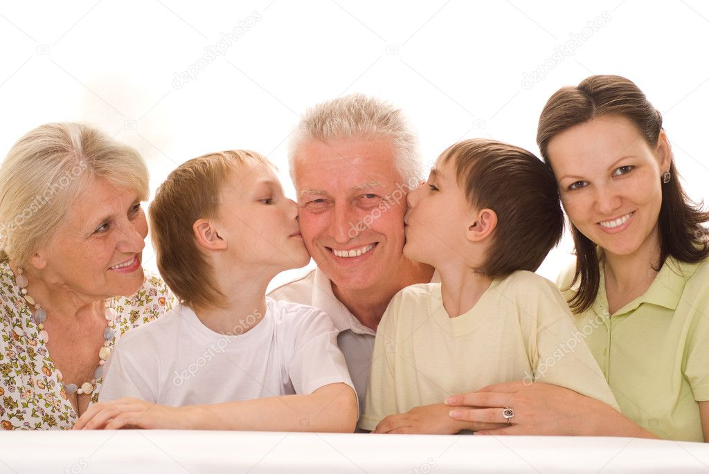 Portrait of a happy family of five on a light — Stock Photo #5510187