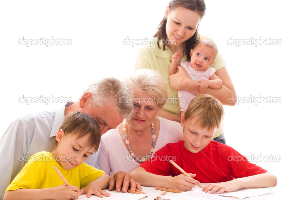 Happy family of six on a light — Stock Photo #5510333