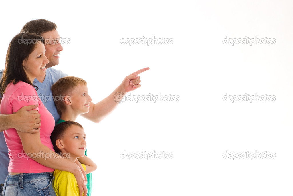 Happy family  on a white background — Stock Photo #5514075