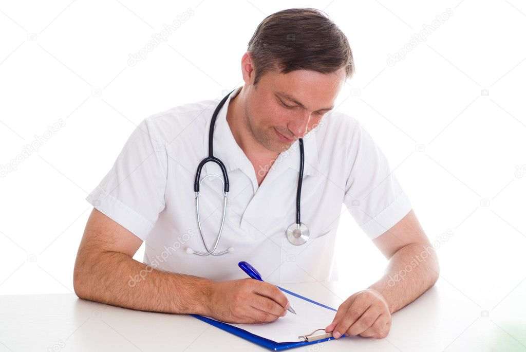 Closeup portrait of a doctor with stethoscope  Stock Photo #5514584
