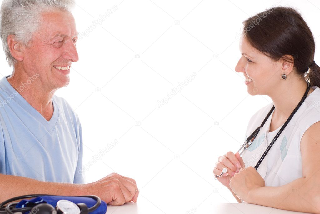 Young woman doctorm talk with old patient — Stock Photo #5516609