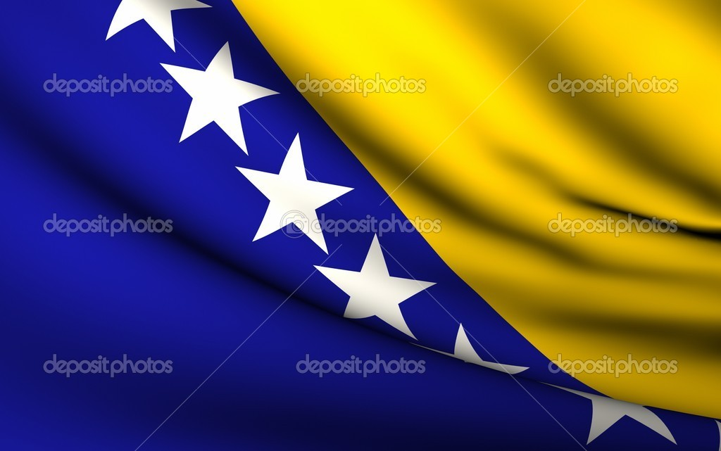 Flying Flag of Bosnia and Herzegovina . All Countries Collection .  Stock Photo #6609183