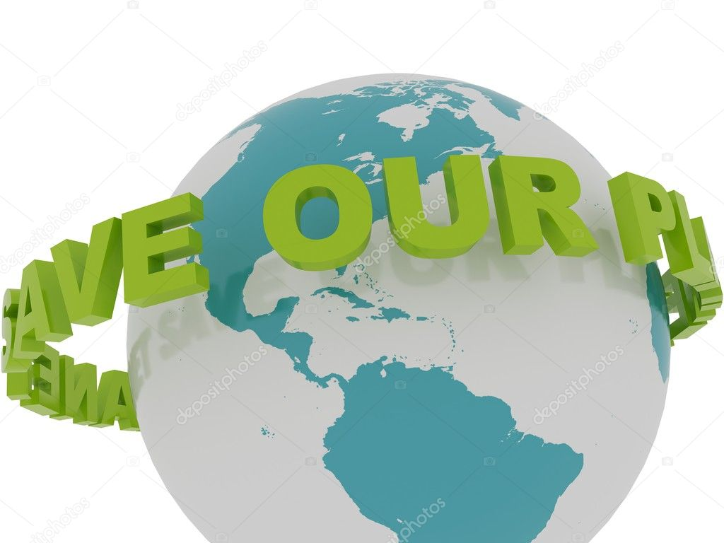 Save Our Planet Spinning Around the Earth — Stock Photo ...