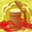 Beer with crabs — Stock Photo