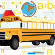 Bus on the background of school supplies — Stock Photo
