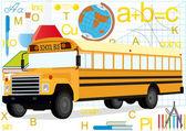 Autobus sur l'arrière-plan des fournitures scolaires — Photo