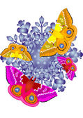 Butterflies on the snowflake — Stock Photo