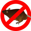 Stock Photo: Prohibition sign and rat