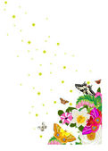 Stars, butterflies and flowers — Stock Photo