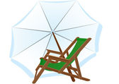 Sunbeds and parasol — Stock Photo