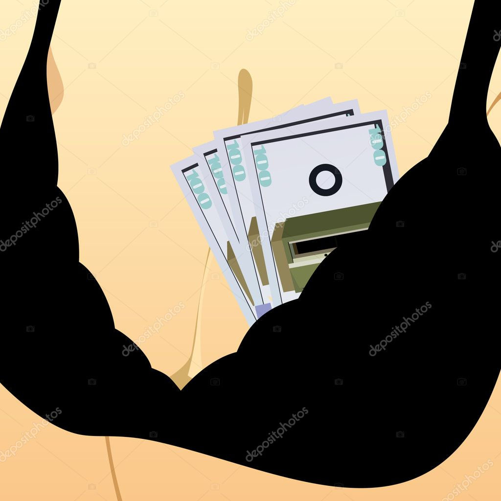 Female breast in the bra, which shows paper money — Stock Photo #5480023