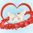 Love and doves — Stock Vector