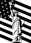 Statue of Liberty and U.S. flag — Stock Vector
