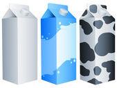 Confezioni di latte. — Vettoriale Stock