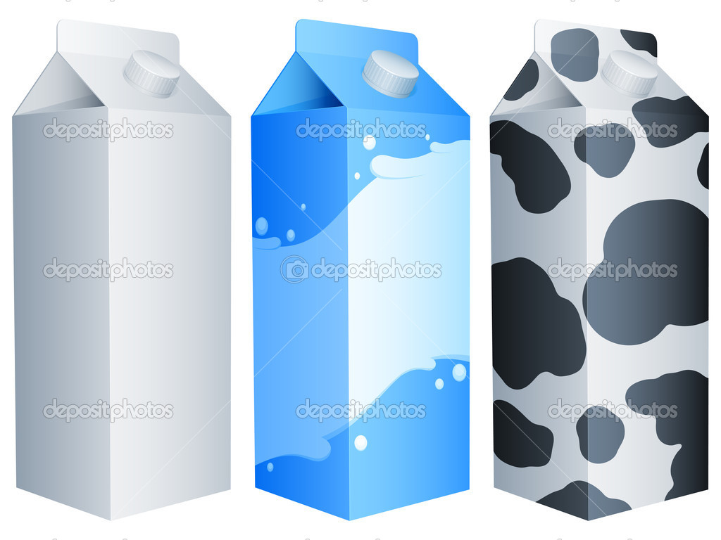 Set of 3 milk packs. — Stok Vektör #6431237