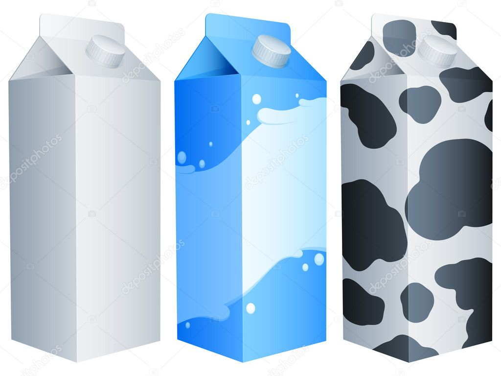 Set of 3 milk packs. — Vettoriali Stock  #6431237