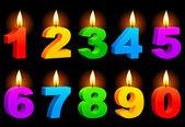 Genummerde kaarsen. — Stockvector