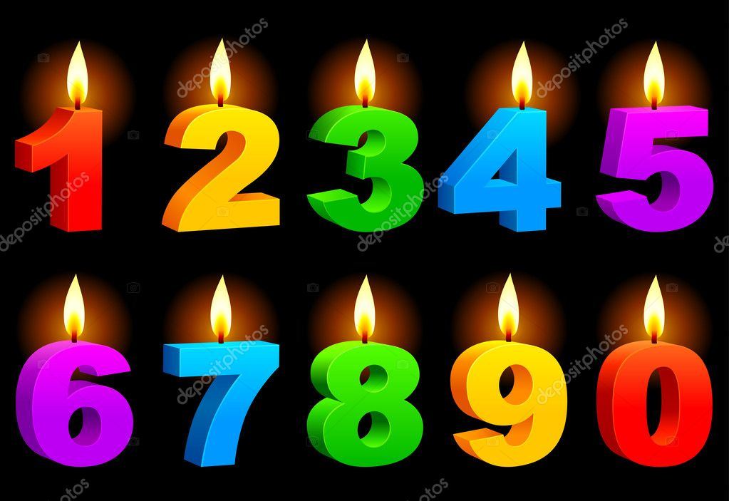 Set of 10 numbered color candles. — Vettoriali Stock  #6461362