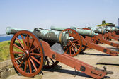 Ancient battle cannons — Stock Photo