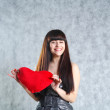 Beautiful Young Woman Holding Red Heart — Stock Photo
