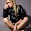 Womin black jacket — Stockfoto #5735650