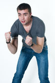 Young man is ready to brawl — Stock Photo