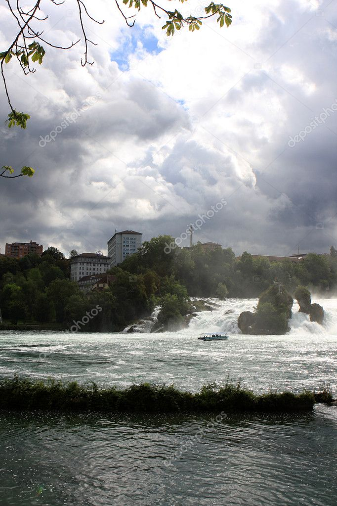 View of the Rhine Falls (Rheinfall) in Switzerland  Stock Photo #6555975