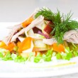 Stock Photo: Salad of beetroot, carrot, potato, green leek and meat