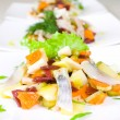 Stock Photo: Salad of beetroot, carrot, potato, green leek and herring