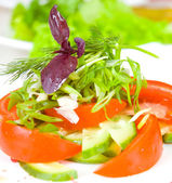 Fresh salad with tomato and cucumber — Stock Photo