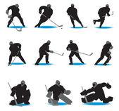 Hockey Silhouettes — Stock Vector