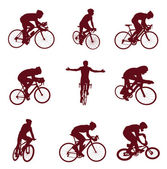 Bicyclist silhouettes — Stock Vector