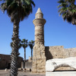 Old Beacon at Ceasarea, ancient Roman capital and port, Israel - Stock Photo