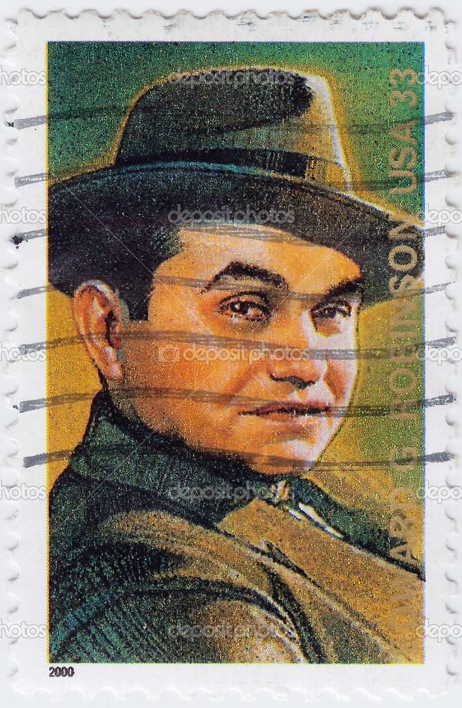 Stamp printed in USA shows Edward G. Robinson actor Legends of Hollywood, circa 2000  Foto Stock #5400061