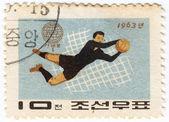 Joueur de football de corée du nord — Photo