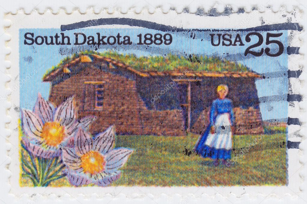 Stamp printed in the USA shows image of a woman in nineteenth century South Dakota, circa 1989 — Stock Photo #5493570