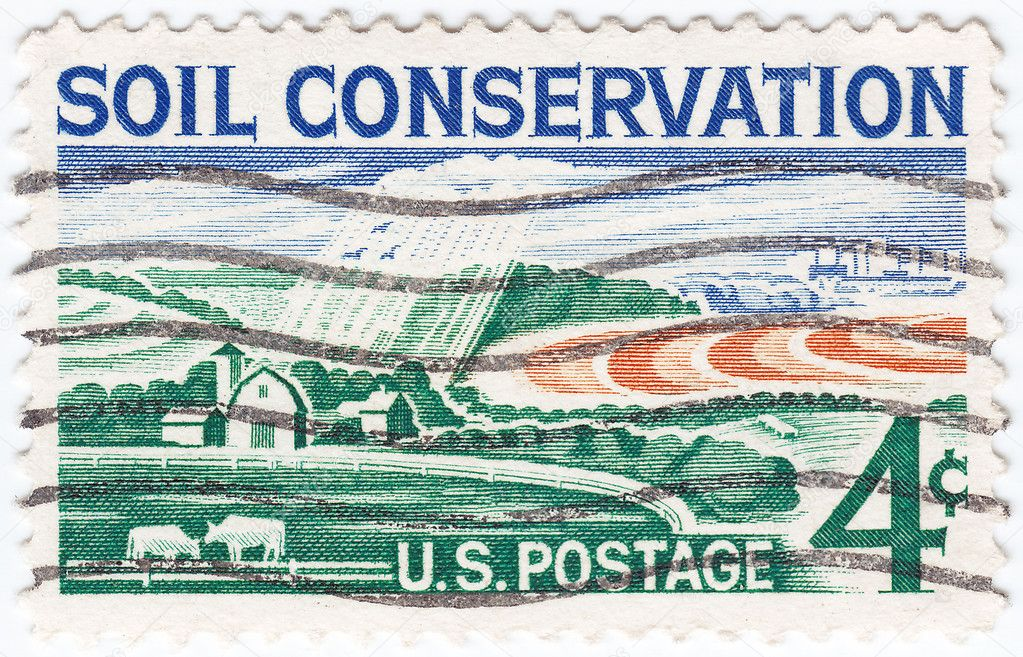 Stamp printed in USA shows Soil Conservation farm, circa 1959 — Stock Photo #5493597