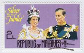 Silver Jubilee Queen (L) and Duke of Edinburhg — Stock Photo