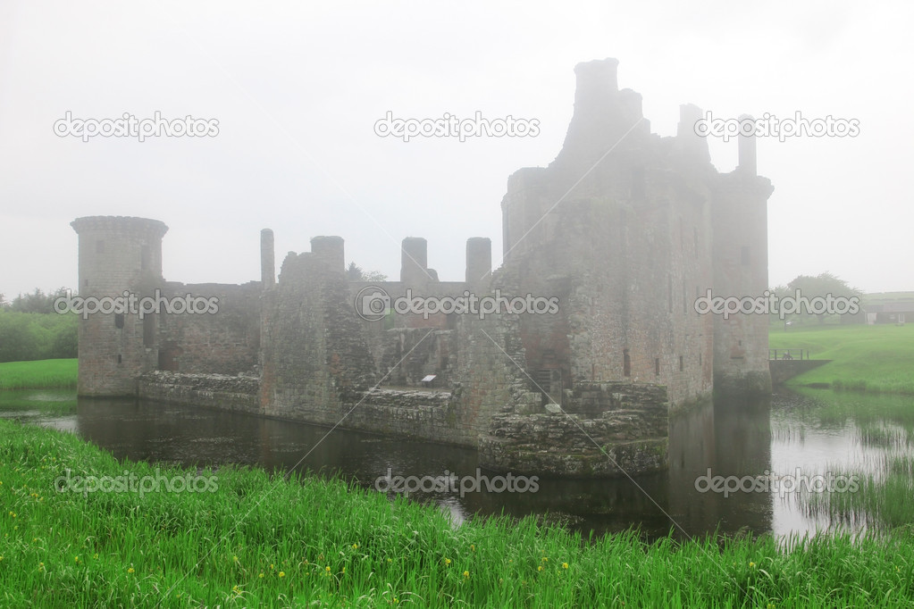 Caerlaverock castle taken in deep fog  Stock Photo #6002285
