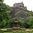 Edinburgh Castle, Scotland, from Princes Street Gardens, with th - Stock Photo