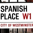 Sign Spanish Place City of Westminster in London, GB — Stock Photo