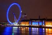 Night view of London Eye, UK — Stock Photo