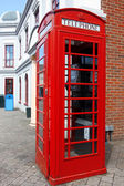 Traditional red telephone box in London, UK — Stok fotoğraf