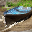 Old boat, retro style photo made with help Petzval 120mm — Stock Photo #6060423