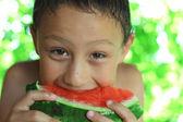 Little boy eating watermelon — Stock Photo