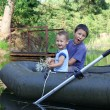Little Boys Boating — Foto de Stock