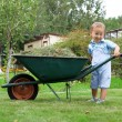 Young baby boy pushing a wheelbarrow in garden — Stock Photo