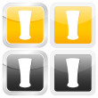 Square icon beer glass — Stock Vector