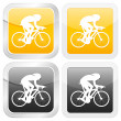 Square icon cyclist — Stock Vector
