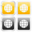 Square icon globe — Stock Vector